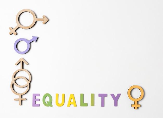 Símbolos de gênero feminino e masculino com letras de igualdade e espaço de cópia