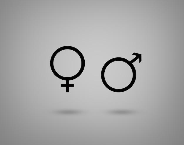 Símbolos de gênero feminino e masculino.