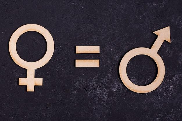 Símbolos de gênero homem é igual a símbolo de gênero feminino