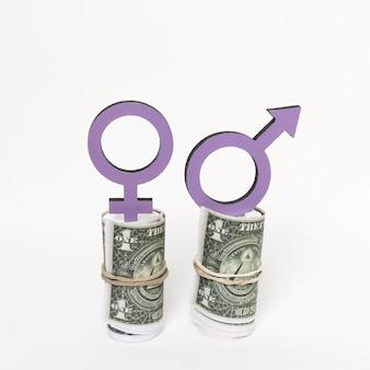 Símbolos de gênero na vista frontal do dinheiro