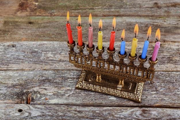 Símbolos de hannukah feriado judaico