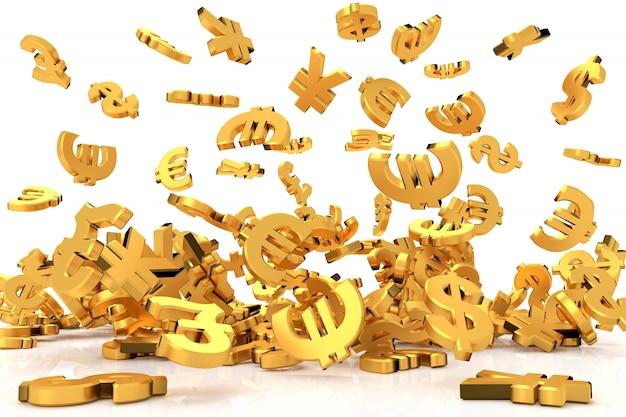 Símbolos de moeda de ouro. renderização em 3d.