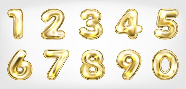 Símbolos de números brilhantes metálicos ouro