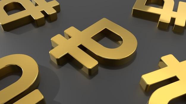 Símbolos de ouro do rublo russo sobre a mesa 3d