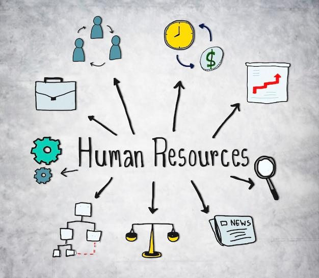 Símbolos de recursos humanos em fundo de concreto