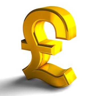 Símbolos de sinal de moeda libra cor ouro 3d render isolado no fundo branco