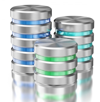 Símbolos do ícone do banco de dados de armazenamento de dados da unidade de disco rígido