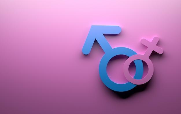 Símbolos do sexo feminino masculino em rosa e azul