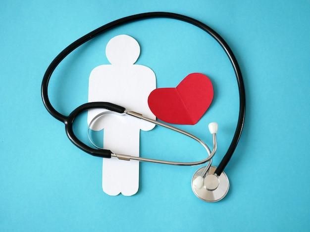 Símbolos estetoscópio, coração e pessoa