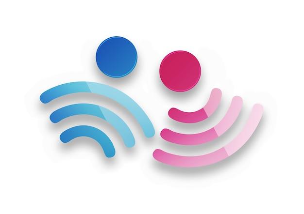 Símbolos masculinos e femininos como um sinal de wi fi grátis com sombra suave em um fundo branco