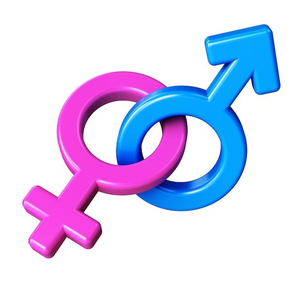 Símbolos masculinos e femininos de marte e vênus isolados no fundo branco