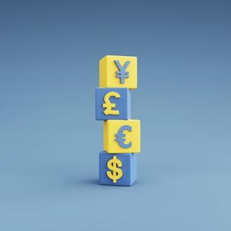 Símbolos monetários de dólar, euro, libra e iene