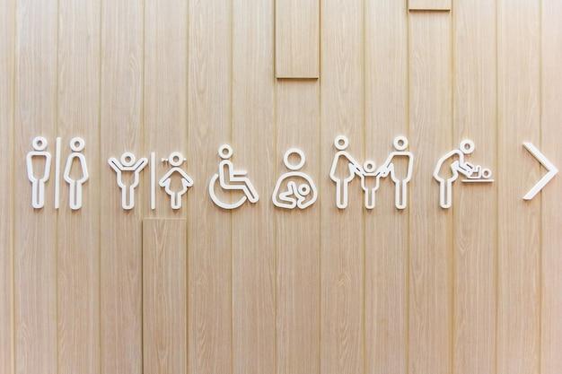 Símbolos para banheiro homens, mulheres, unissex. pais com filhas e mães com filhos.