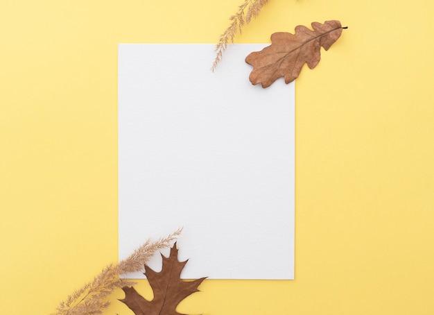 Simplesmente composição de outono com folha de papel em branco branco, folhas de árvores e grama seca