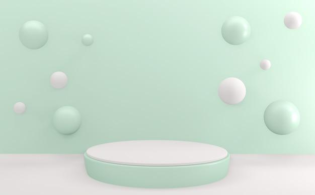 Simulação abstrata menta azul ciano pódio design mínimo cena do produto renderização em 3d
