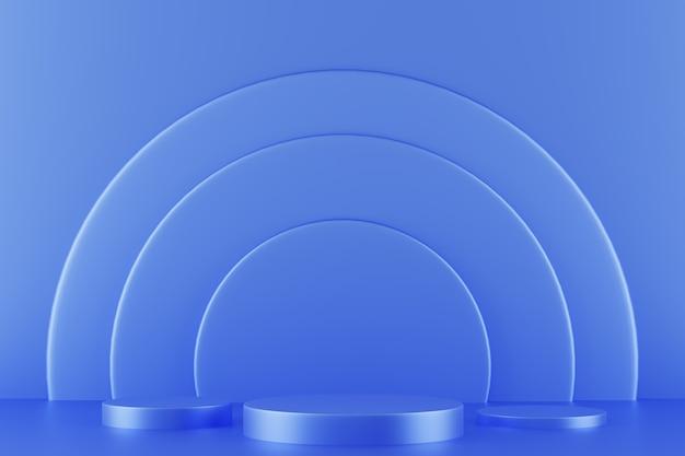 Simulação da sala do pódio do vencedor abstrato, renderização em 3d, ilustração em 3d
