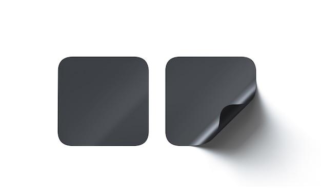 Simulação de adesivos adesivos quadrados pretos em branco