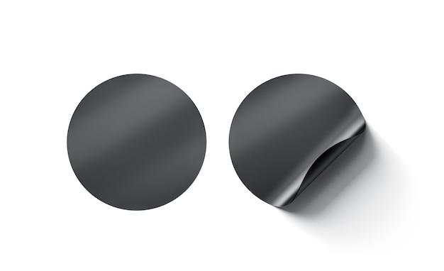 Simulação de adesivos adesivos redondos pretos em branco com canto curvo