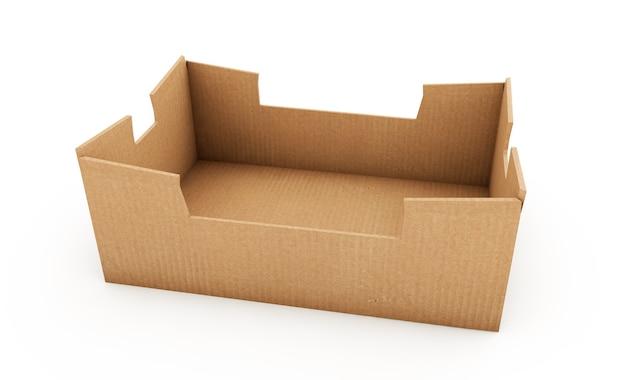 Simulação de caixa de papelão quadrada marrom isolada em branco, renderização em 3d
