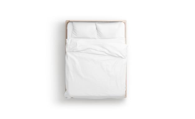 Simulação de cama branca em branco e maquete de travesseiros em doss da cabeceira da cama com colchão e lençol