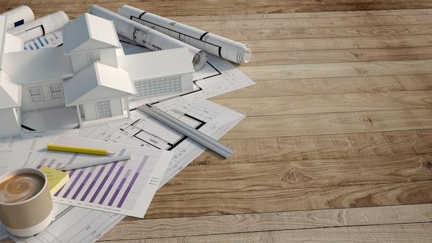Simulação de casa em cima de uma superfície de madeira com formulário de hipoteca,