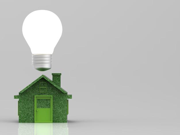 Simulação de casa verde com lâmpada