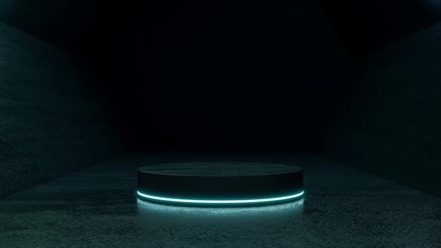 Simulação de cena escura criativa com pódio abstrato azul néon futurista scifi design 3d render