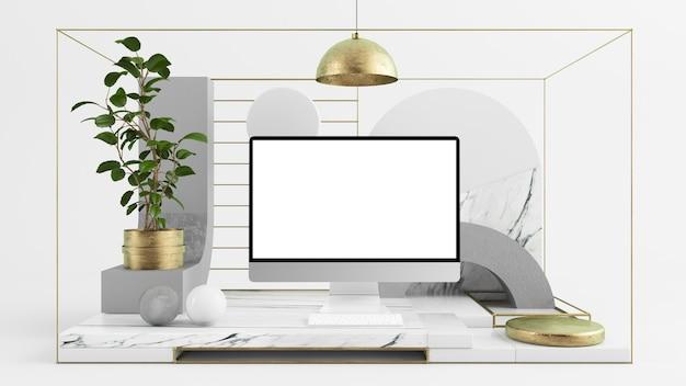 Simulação de computador abstrato mínimo definido renderização em 3d