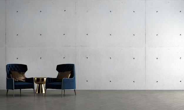 Simulação de decoração de interiores moderna e aconchegante, design de sala de estar e fundo de textura de parede e sofá azul com mesa lateral de ouro renderização 3d