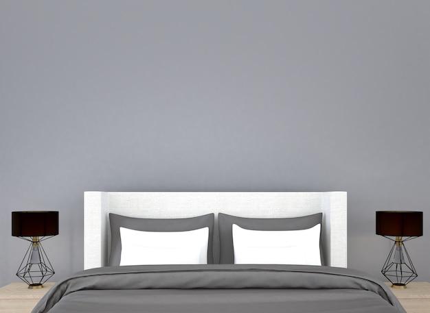 Simulação de decoração de móveis em estilo hampton interior do quarto renderização em 3d