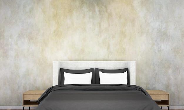 Simulação de decoração de móveis em estilo loft moderno interior de quarto 3d render
