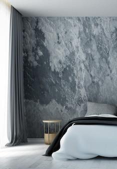 Simulação de decoração de móveis em estilo minimalista interior de quarto renderização em 3d