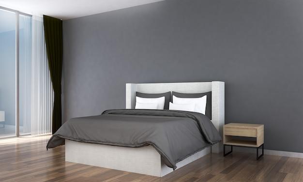 Simulação de decoração de móveis em estilo moderno, interior do quarto, renderização em 3d