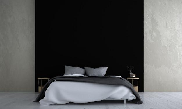 Simulação de decoração de móveis no interior do quarto em estilo moderno e fundo preto na parede