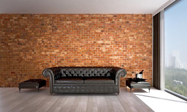 Simulação de decoração e móveis e sala de estar e textura de parede de tijolos design de interiores