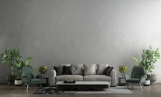 Simulação de loft moderno e móveis de decoração de sala de estar e fundo de textura de parede de concreto renderização 3d