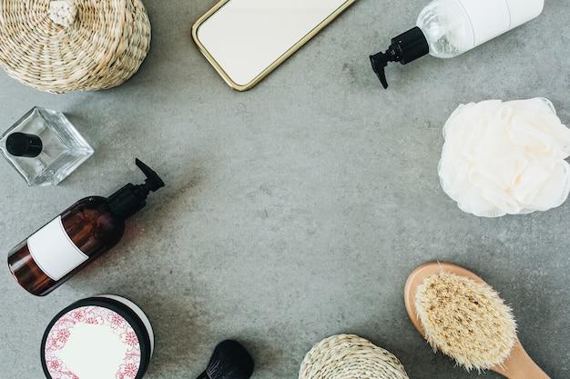 Simulação de moldura redonda modelo de spa. acessórios para banho e cosméticos para a pele