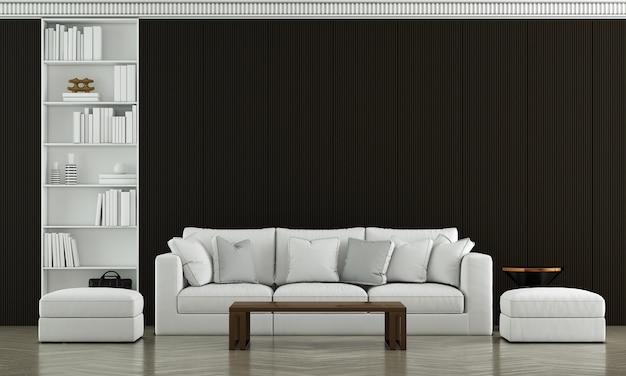 Simulação de móveis e design de interiores de sala de estar de luxo moderno e luxuoso