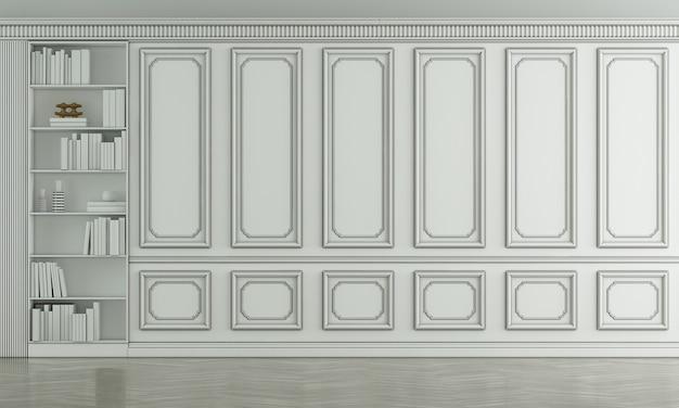 Simulação de móveis e design de interiores de sala de estar vazia e decoração de móveis e padrão clássico