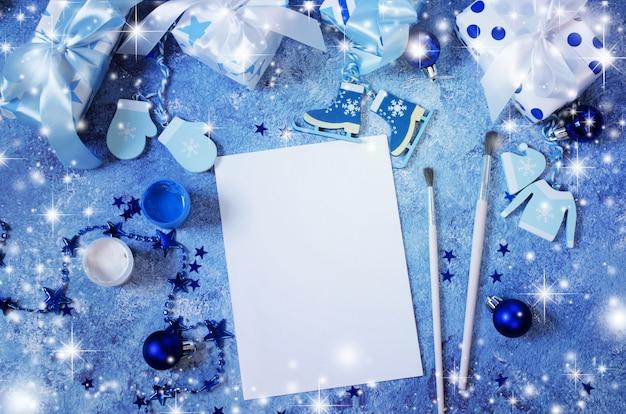 Simulação de natal para cartão ou carta para o papai noel na cor azul.