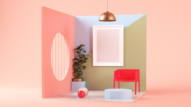 Simulação de quadro em renderização 3d em arte deco de quarto surreal