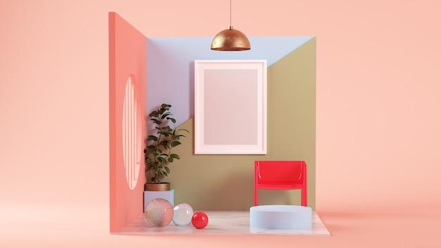 Simulação de quadro em uma sala surreal com renderização 3d