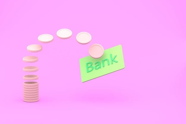 Simulação de renderização 3d de algumas moedas efetuando o pagamento de um cartão de crédito bancário. fundo rosa