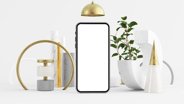 Simulação de tela do celular em renderização em 3d de ambiente abstrato mínimo