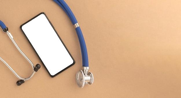 Simulação de telefone móvel com estetoscópio. modelo com tela branca de smartphone na mesa para aplicação médica.