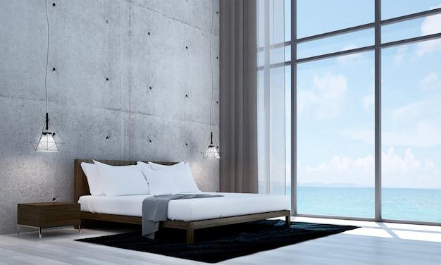 Simulação do interior da sala e do fundo da parede de concreto e do quarto e vista de cada