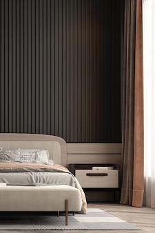 Simulação do interior do quarto, cama cinza no fundo da parede de madeira vazia, estilo escandinavo, renderização 3d