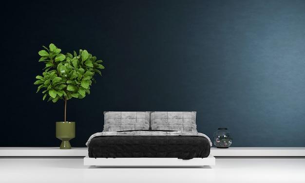 Simulação do interior do quarto, cama cinza no fundo vazio da parede azul escura, estilo escandinavo, renderização 3d
