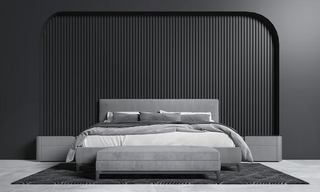 Simulação do interior do quarto escuro, cama cinza no fundo da parede escura vazia, estilo escandinavo, renderização 3d