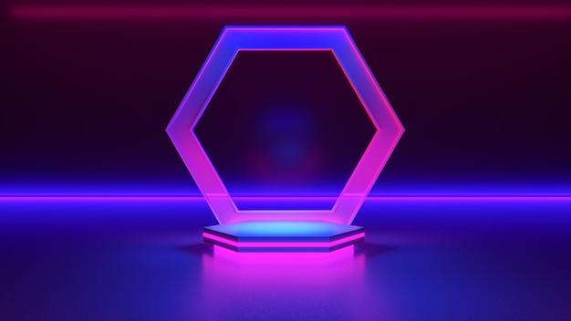 Simulação do pódio do hexágono. luz néon, fundo futurista abstrato, conceito ultravioleta, renderização 3d